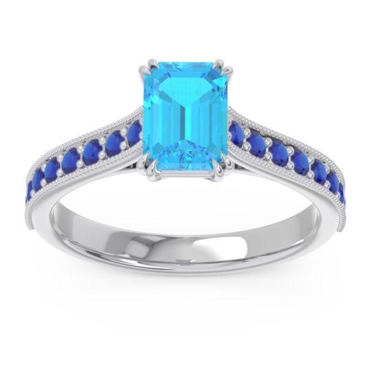 Pave Milgrain Emerald Cut Druna Swiss Blue Topaz Ring with Blue Sapphire in 18k White Gold