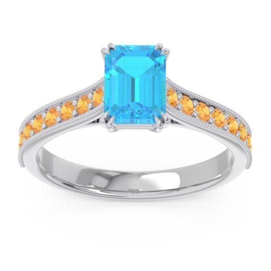 Pave Milgrain Emerald Cut Druna Swiss Blue Topaz Ring with Citrine in 18k White Gold