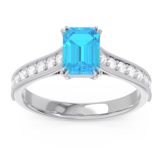 Pave Milgrain Emerald Cut Druna Swiss Blue Topaz Ring with Diamond in Palladium