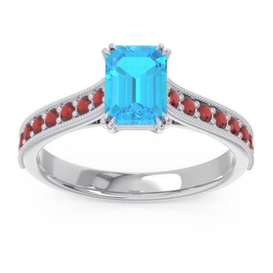 Pave Milgrain Emerald Cut Druna Swiss Blue Topaz Ring with Garnet in 18k White Gold