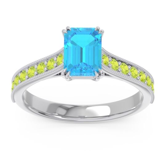 Pave Milgrain Emerald Cut Druna Swiss Blue Topaz Ring with Peridot in Palladium