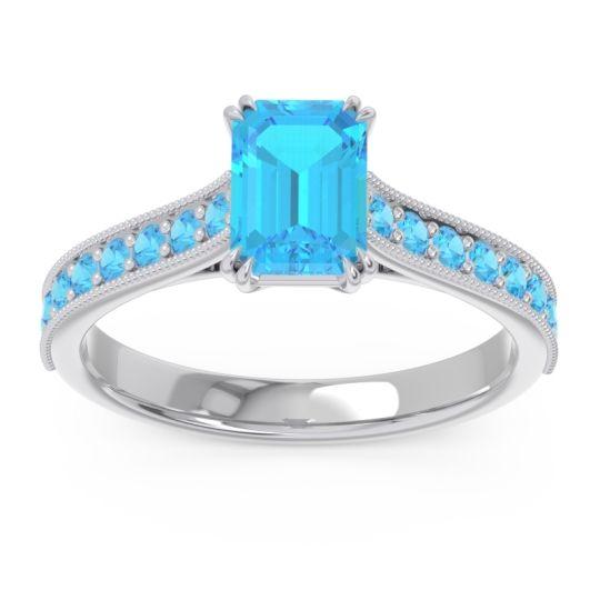Pave Milgrain Emerald Cut Druna Swiss Blue Topaz Ring in Palladium
