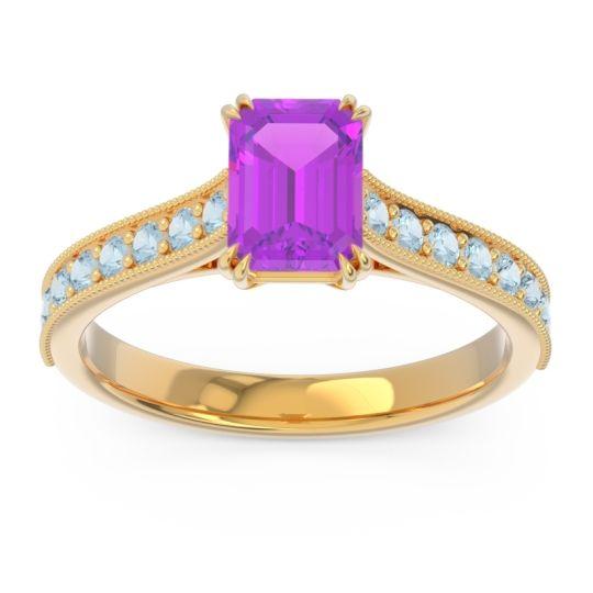 Pave Milgrain Emerald Cut Druna Amethyst Ring with Aquamarine in 14k Yellow Gold