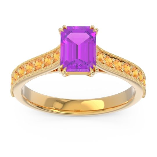 Pave Milgrain Emerald Cut Druna Amethyst Ring with Citrine in 18k Yellow Gold