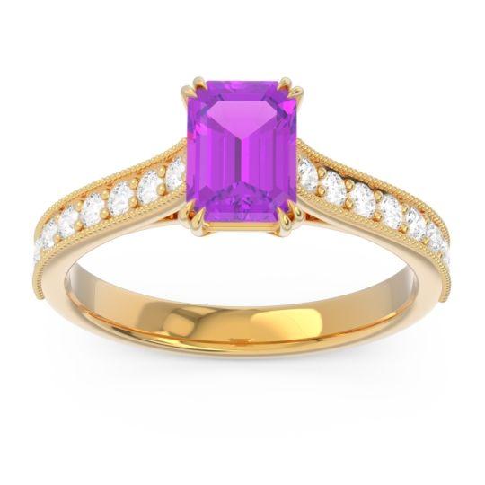 Pave Milgrain Emerald Cut Druna Amethyst Ring with Diamond in 18k Yellow Gold