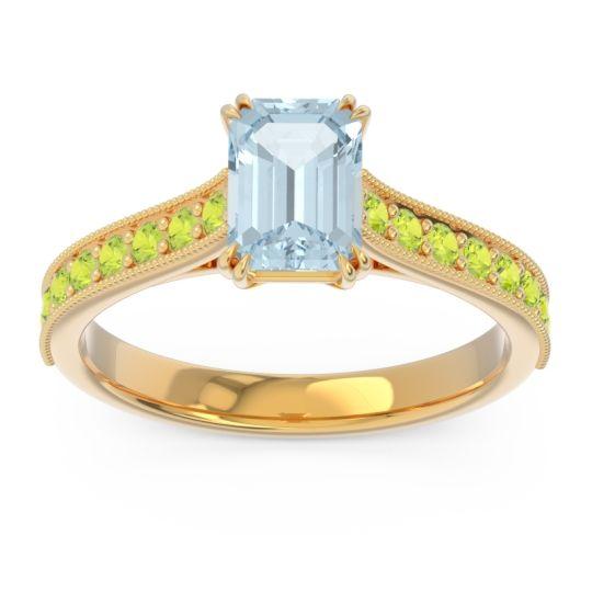 Pave Milgrain Emerald Cut Druna Aquamarine Ring with Peridot in 14k Yellow Gold