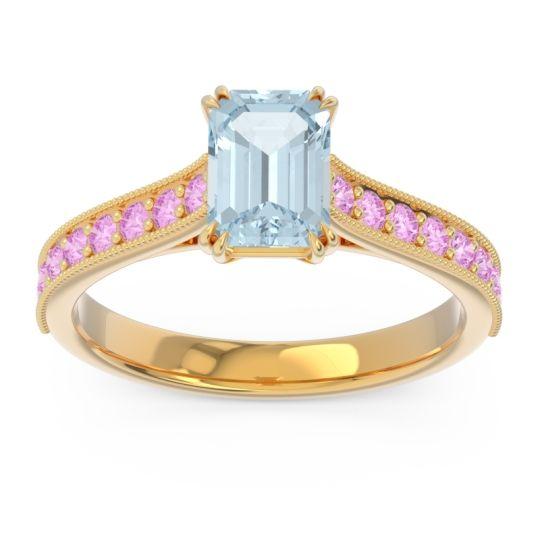 Pave Milgrain Emerald Cut Druna Aquamarine Ring with Pink Tourmaline in 14k Yellow Gold
