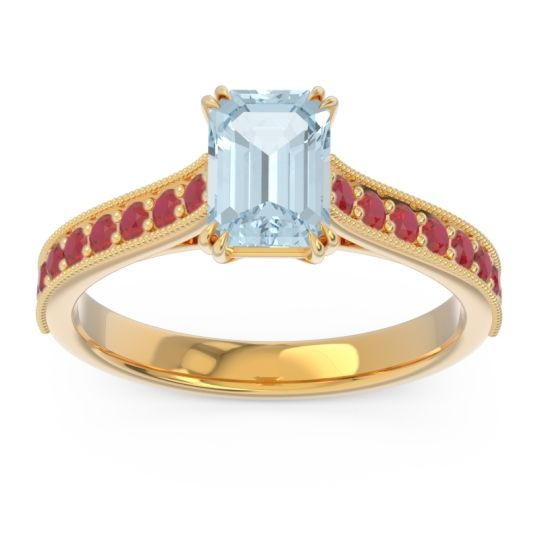 Pave Milgrain Emerald Cut Druna Aquamarine Ring with Ruby in 14k Yellow Gold