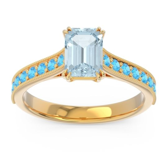 Pave Milgrain Emerald Cut Druna Aquamarine Ring with Swiss Blue Topaz in 14k Yellow Gold