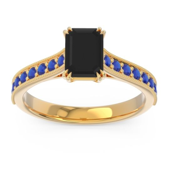 Pave Milgrain Emerald Cut Druna Black Onyx Ring with Blue Sapphire in 14k Yellow Gold