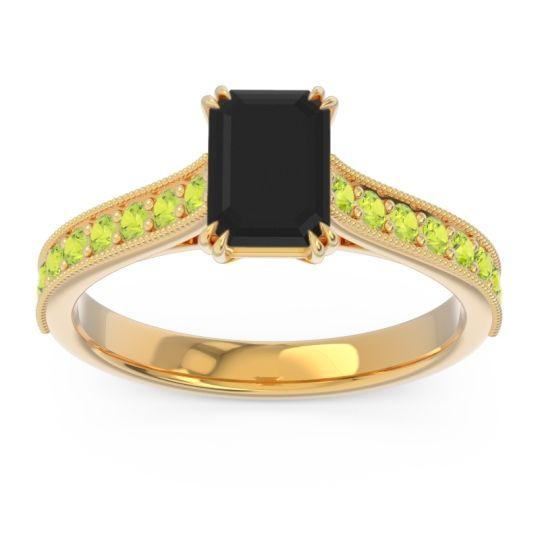 Pave Milgrain Emerald Cut Druna Black Onyx Ring with Peridot in 18k Yellow Gold