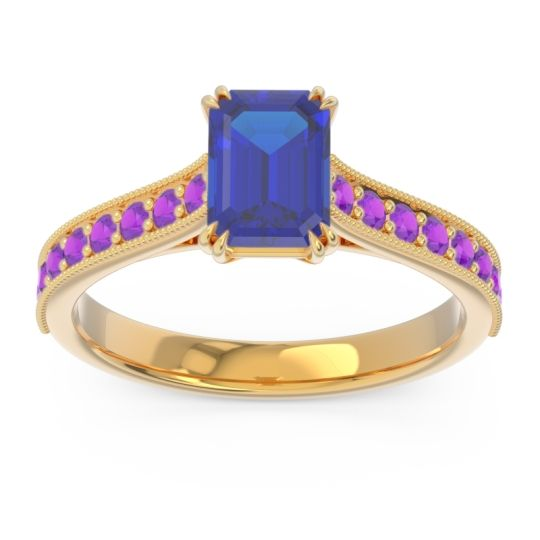 Pave Milgrain Emerald Cut Druna Blue Sapphire Ring with Amethyst in 14k Yellow Gold