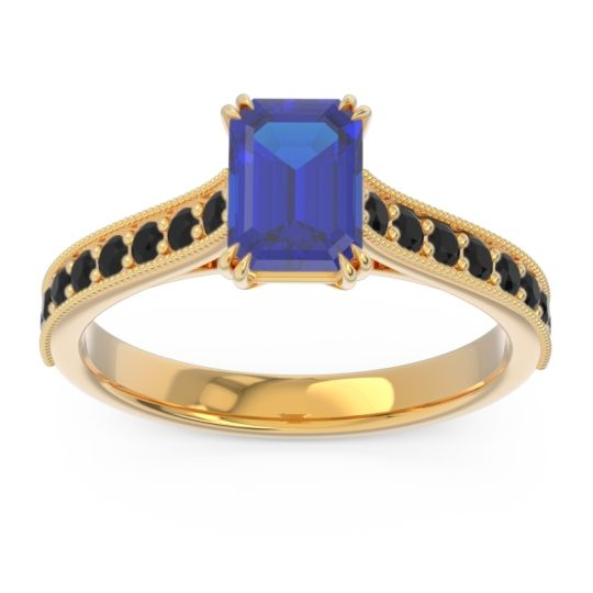 Pave Milgrain Emerald Cut Druna Blue Sapphire Ring with Black Onyx in 14k Yellow Gold