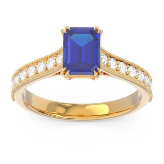 Pave Milgrain Emerald Cut Druna Blue Sapphire Ring with Diamond in 14k Yellow Gold