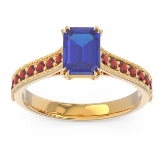 Pave Milgrain Emerald Cut Druna Blue Sapphire Ring with Garnet in 14k Yellow Gold