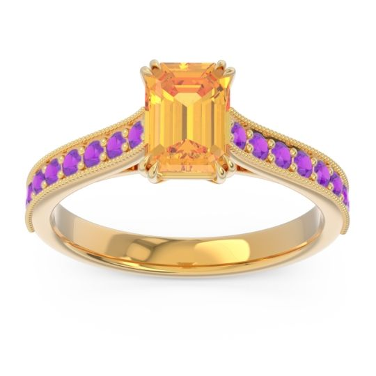 Pave Milgrain Emerald Cut Druna Citrine Ring with Amethyst in 14k Yellow Gold