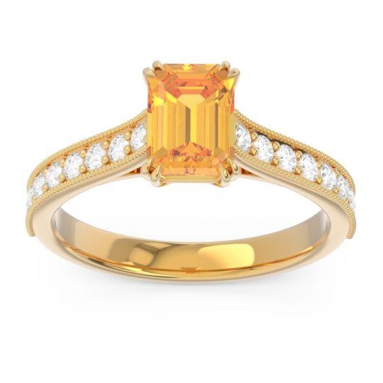 Pave Milgrain Emerald Cut Druna Citrine Ring with Diamond in 18k Yellow Gold