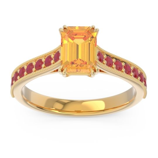 Pave Milgrain Emerald Cut Druna Citrine Ring with Ruby in 18k Yellow Gold