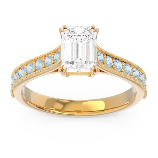 Pave Milgrain Emerald Cut Druna Diamond Ring with Aquamarine in 18k Yellow Gold