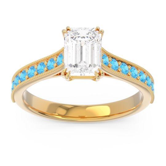 Pave Milgrain Emerald Cut Druna Diamond Ring with Swiss Blue Topaz in 18k Yellow Gold
