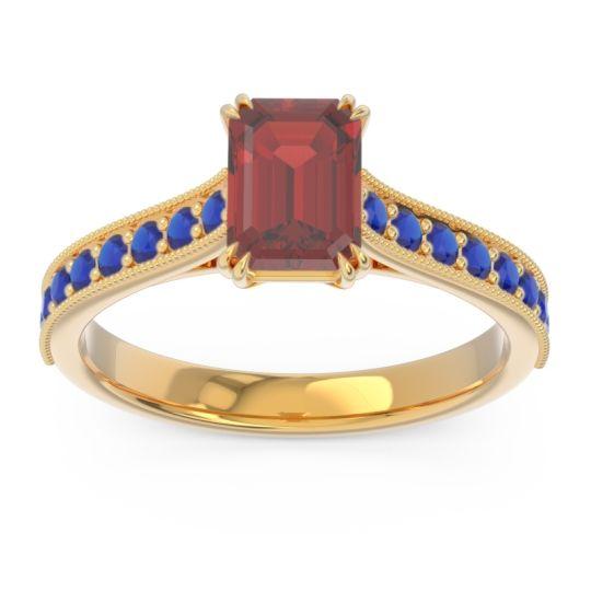 Pave Milgrain Emerald Cut Druna Garnet Ring with Blue Sapphire in 14k Yellow Gold