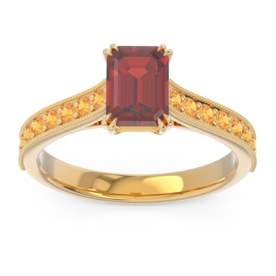 Pave Milgrain Emerald Cut Druna Garnet Ring with Citrine in 18k Yellow Gold