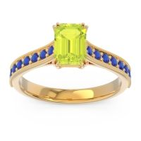 Pave Milgrain Emerald Cut Druna Peridot Ring with Blue Sapphire in 14k Yellow Gold