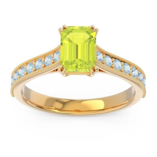 Pave Milgrain Emerald Cut Druna Peridot Ring with Aquamarine in 18k Yellow Gold