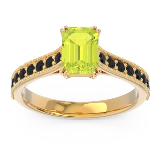 Pave Milgrain Emerald Cut Druna Peridot Ring with Black Onyx in 14k Yellow Gold