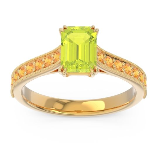 Pave Milgrain Emerald Cut Druna Peridot Ring with Citrine in 14k Yellow Gold
