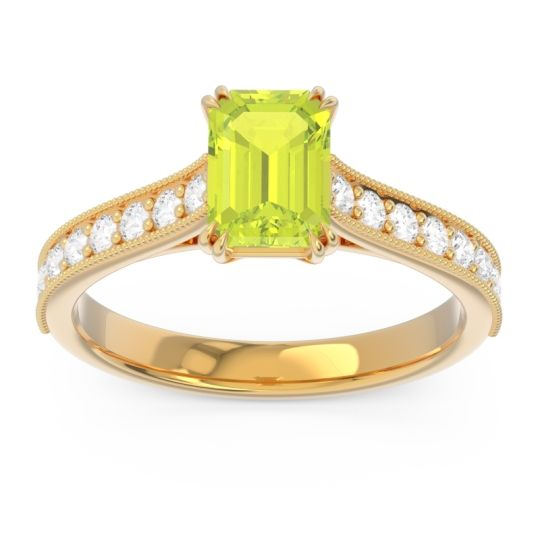 Pave Milgrain Emerald Cut Druna Peridot Ring with Diamond in 18k Yellow Gold