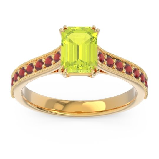 Pave Milgrain Emerald Cut Druna Peridot Ring with Garnet in 18k Yellow Gold