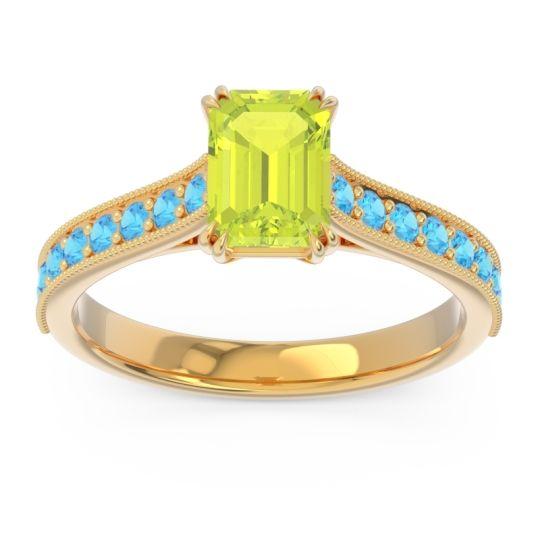 Pave Milgrain Emerald Cut Druna Peridot Ring with Swiss Blue Topaz in 14k Yellow Gold