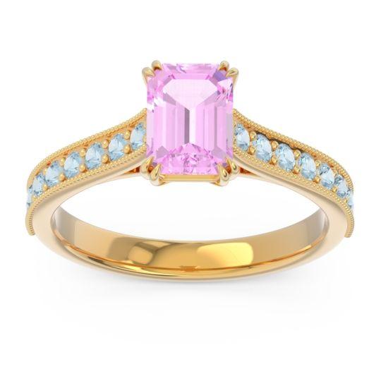 Pave Milgrain Emerald Cut Druna Pink Tourmaline Ring with Aquamarine in 14k Yellow Gold