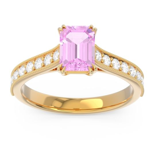 Pave Milgrain Emerald Cut Druna Pink Tourmaline Ring with Diamond in 14k Yellow Gold