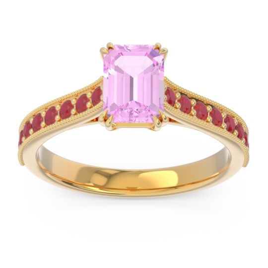 Pave Milgrain Emerald Cut Druna Pink Tourmaline Ring with Ruby in 18k Yellow Gold