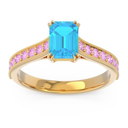 Pave Milgrain Emerald Cut Druna Swiss Blue Topaz Ring with Pink Tourmaline in 18k Yellow Gold