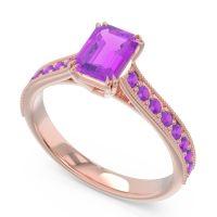 Pave Milgrain Emerald Cut Druna Amethyst Ring in 14K Rose Gold