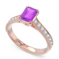 Pave Milgrain Emerald Cut Druna Amethyst Ring with Aquamarine in 14K Rose Gold