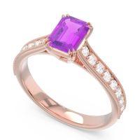 Pave Milgrain Emerald Cut Druna Amethyst Ring with Diamond in 14K Rose Gold