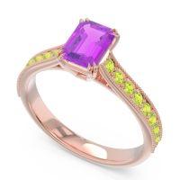 Pave Milgrain Emerald Cut Druna Amethyst Ring with Peridot in 18K Rose Gold