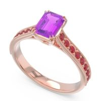 Pave Milgrain Emerald Cut Druna Amethyst Ring with Ruby in 14K Rose Gold