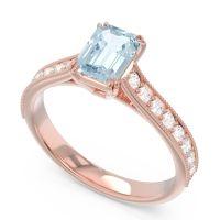 Pave Milgrain Emerald Cut Druna Aquamarine Ring with Diamond in 14K Rose Gold