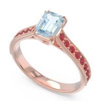 Pave Milgrain Emerald Cut Druna Aquamarine Ring with Ruby in 18K Rose Gold