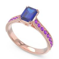 Pave Milgrain Emerald Cut Druna Blue Sapphire Ring with Amethyst in 14K Rose Gold