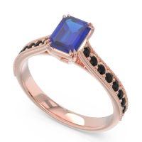 Pave Milgrain Emerald Cut Druna Blue Sapphire Ring with Black Onyx in 18K Rose Gold