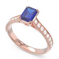 Pave Milgrain Emerald Cut Druna Blue Sapphire Ring with Diamond in 14K Rose Gold