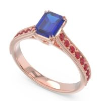 Pave Milgrain Emerald Cut Druna Blue Sapphire Ring with Ruby in 18K Rose Gold