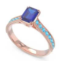 Pave Milgrain Emerald Cut Druna Blue Sapphire Ring with Swiss Blue Topaz in 18K Rose Gold