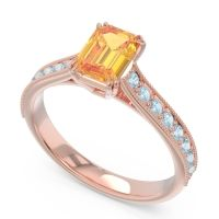 Pave Milgrain Emerald Cut Druna Citrine Ring with Aquamarine in 14K Rose Gold